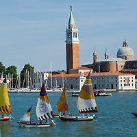 "VENICE, ITALY - JUNE 12:  Few ""vela al terzo"" boats sail in front of St George Island ahead of the Regatta of the Ancient Maritime Republics on June 12, 2011 in Venice, Italy. The idea of the Regatta of the Ancient Maritime Republics was realized in 1955 and the first edition took place in Genova."