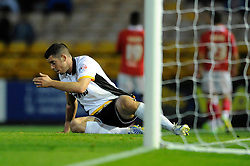 Port Vale's Richard Duffy cuts a dejected figure as Port Vale lose 0 - 3 to Bristol City - Photo mandatory by-line: Dougie Allward/JMP - Mobile: 07966 386802 - 16/09/2014 - SPORT - FOOTBALL - Stoke-On-Trent - Vale Park - Port Vale v Bristol City - Sky Bet League One