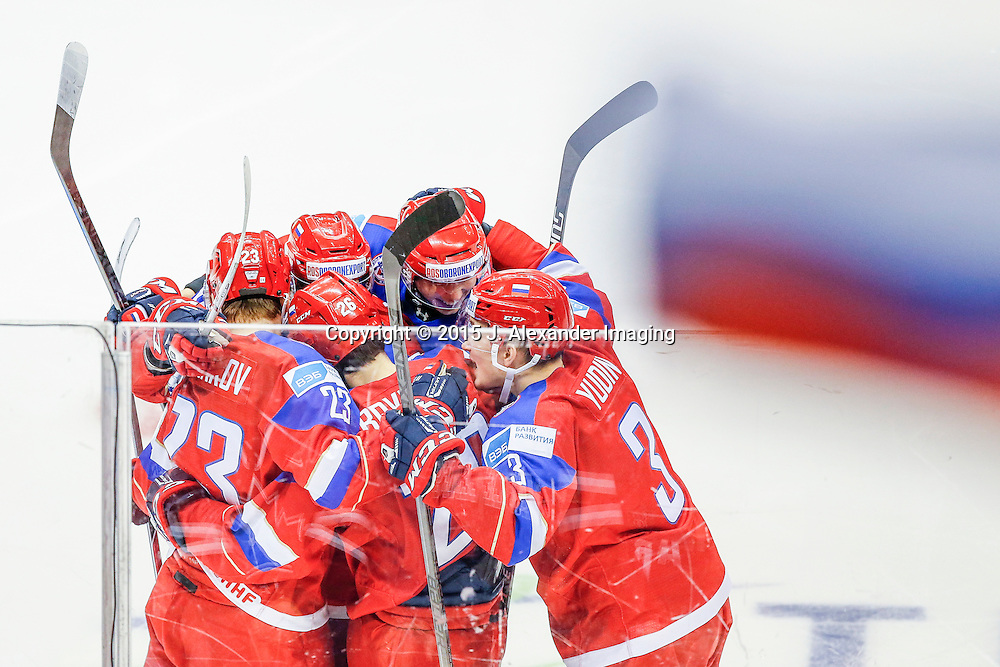 Team Russia celebrates a goal during the 2015 IIHF Junior World Championships.