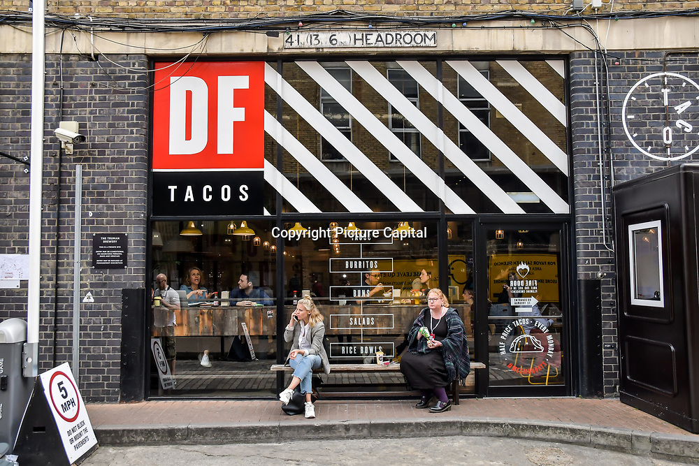 DF Tacos restaurant next door at the Graduate Fashion Week 2019 - Final Day, on 5 June 2019, Old Truman Brewery, London, UK.