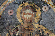 Fresco of Christ in the cupola of the Dormition of Saint Mary Cathedral Church, or Kisha Katedrale Fjetja e Shen Marise, built 1699, Voskopoje, Korce, Albania. The church contains frescoes by Theodor Anagnost and Sterian from Agrapha in Greece, and the large icons in the iconostasis were painted 1703 by Constantine Lemoronachos. Picture by Manuel Cohen