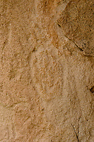 Dry Creek rock art, carved in Fish Canyon tuff, bear paw w/ claw marks; San  Luis Valley, Rio Grande CountyD