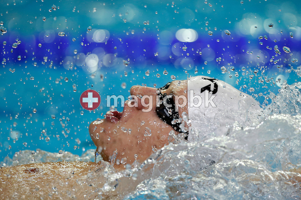 Lukas RAEUFTLIN of Switzerland competes in the men's 200m Backstroke Heats during the 11th Fina World Short Course Swimming Championships held at the Sinan Erdem Arena in Istanbul, Turkey, Sunday, Dec. 16, 2012. (Photo by Patrick B. Kraemer / MAGICPBK)