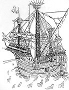 A Carrack of about 1470. Engraving