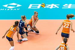 07-10-2018 JPN: World Championship Volleyball Women day 8, Nagoya<br /> Netherlands - Puerto Rico 3-0 / Maret Balkestein-Grothues #6 of Netherlands, Kirsten Knip #1 of Netherlands