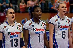 06-04-2017 NED:  CEV U18 Europees Kampioenschap vrouwen dag 5, Arnhem<br /> Nederland verliest met 3-1 van Italie en speelt voor de plaatsen 5-8 / Alessia Populini #13, Terry Ruth Nkemdilim Enweonwu #1, Sarah Luisa Fahr #6