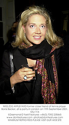 MISS ZOE APPLEYARD former close friend of tennis player Borris Becker, at a party in London on 17th September 2001.OSJ 116