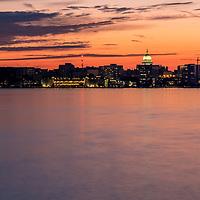 Madison Capitol  on Lake Monona at sunset
