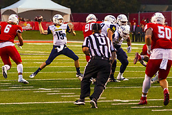 NORMAL, IL - September 21: Case Cookus unleashes a pass during a college football game between the ISU (Illinois State University) Redbirds and the Northern Arizona University (NAU) Lumberjacks on September 21 2019 at Hancock Stadium in Normal, IL. (Photo by Alan Look)