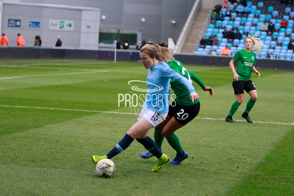 during the FA Women's Super League match between Manchester City Women and Brighton and Hove Albion Women at the Sport City Academy Stadium, Manchester, United Kingdom on 27 January 2019.