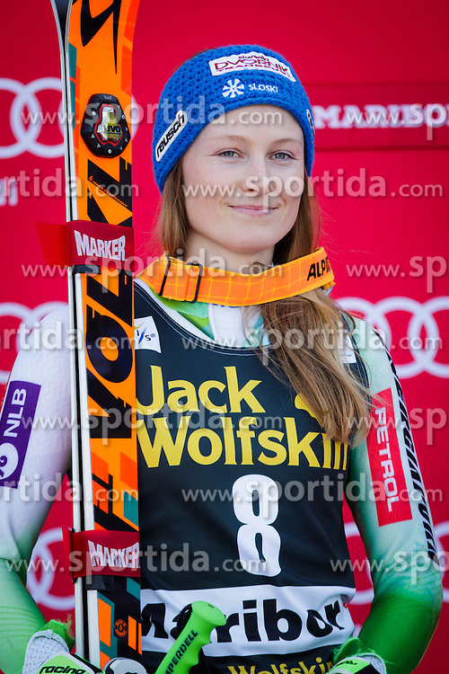 Ana Drev (SLO) during flower ceremony after the 7th Ladies' Giant slalom at 52nd Golden Fox - Maribor of Audi FIS Ski World Cup 2015/16, on January 30, 2016 in Pohorje, Maribor, Slovenia. Photo by Ziga Zupan / Sportida