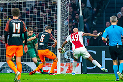 Ryan Babel #49 of Ajax and Lars Unnerstall #13 of PSV Eindhoven, Daniel Schwaab #6 of PSV Eindhoven in action during the match between Ajax and PSV at Johan Cruyff Arena on February 02, 2020 in Amsterdam, Netherlands