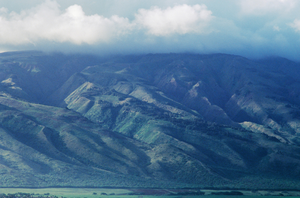 Hawaii, Molokai, view of eastern shore and mountains from Maui