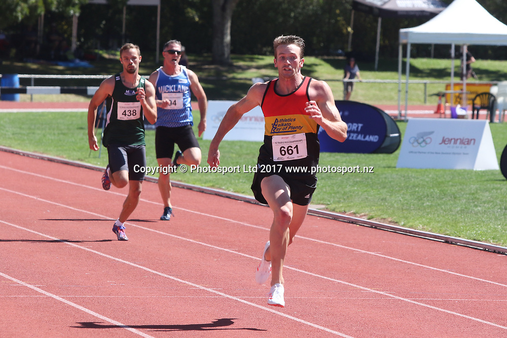 Joseph Millar winning and breaking the NZ record for the Mens 200m at the 2017 Jennian Homes NZ Track and Field Champs at Porritt Stadium, Hamilton, New Zealand on the 19th March 2017.  This is also a qualifying time for the World Chmpionship.   Copyright photo: Alan McDonald / www.photosport.nz