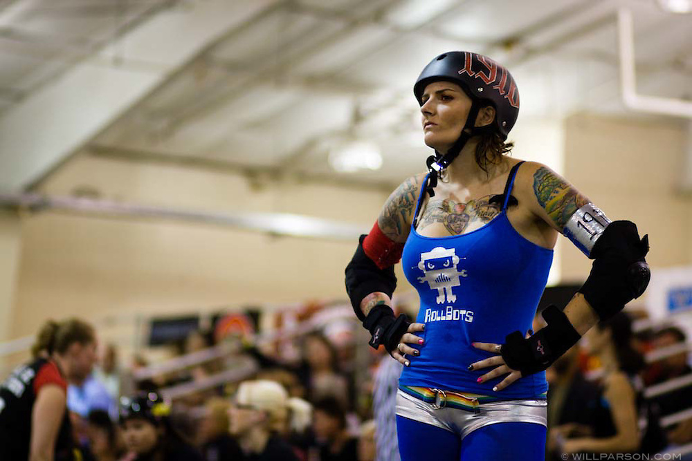 Dani Maul of the Rollbots waits for the next bout.  The San Diego Derby Dolls were at the Del Mar Fairgrounds in Del Mar, California on November 08, 2008.  The all-female roller derby league, founded in 2005, features serious competition among skaters with tongue-in-cheek names such as Anita Battle and Isabelle Ringer.