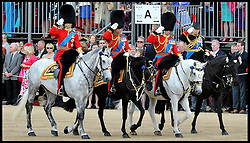 Prince William, Prince Charles and Princess Anne (end)  Salute on Horse Guards Parade for the Queen's Trooping of the Colour, The Queen's Birthday Parade, Saturday June 16, 2012. Photo by Andrew Parsons/i-Images..All Rights Reserved ©Andrew Parsons/i-Images .See Special Instructions