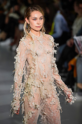 © Licensed to London News Pictures. 13/09/2019. LONDON, UK.  A model presents a look by Tove Berner-Wik of Swedish School of Textiles during Fashion Scout SS20, an off schedule show at Victoria House in Bloomsbury Square, on the opening day of London Fashion Week.  Photo credit: Stephen Chung/LNP