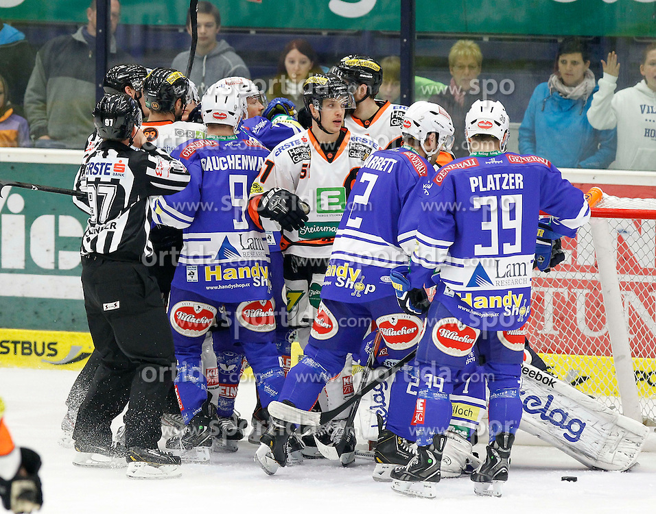 27.10..2013, Stadthalle, Villach, AUT, EBEL, EC VSV vs Moser Medical Graz99ers, 28. Runde, im Bild eine Rauferei // during the Erste Bank Icehockey League 28th round between EC VSV vs Moser Medical Graz99ers, at the City Hall, Villach, Austria, 2013/10/27, EXPA Pictures © 2013, PhotoCredit: EXPA/ Oskar Hoeher