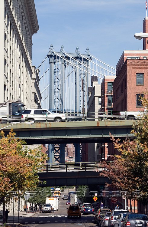 Street of Brooklyn and Manhattan Bridge.