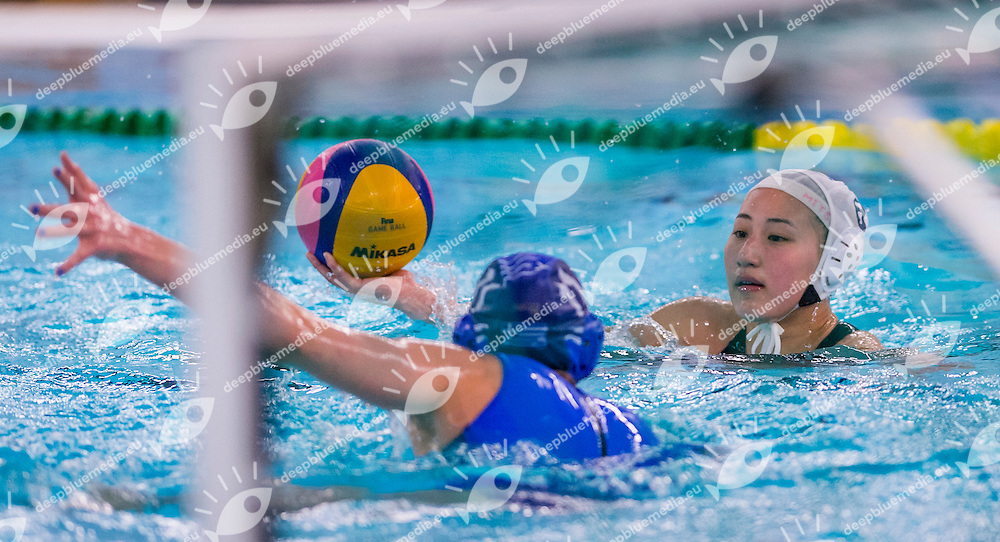 FINA Women's Water polo Olympic Games Qualifications Tournament 2016<br /> Japan JPN (White) Vs Greece GRE (Blue)<br /> 11 Mitsuki Hashiguchi JPN<br /> Gouda, Netherlands - Swimming pool Groenhovenbad<br /> Day5 25-03-2016<br /> Photo P. Mesiano/Insidefoto/Deepbluemedia