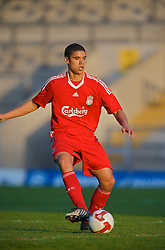 WARRINGTON, ENGLAND - Wednesday, April 29, 2009: Liverpool's Victor Palsson in action against Newcastle United during the FA Premiership Reserves League (Northern Division) match at the Halliwell Jones Stadium. (Photo by David Rawcliffe/Propaganda)
