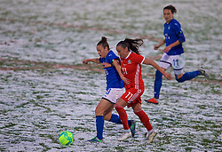 CESENA, ITALY - Tuesday, January 22, 2019: Wales' Natasha Harding and Italy's Aurora Galli during the International Friendly between Italy and Wales at the Stadio Dino Manuzzi. (Pic by David Rawcliffe/Propaganda)