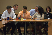 From left, Chris Garrett, Michael Hammack and Kimberly Hurt work on a risk assessment training exercise while they attend the Ohio MBA Leadership Development Workshop on Saturday, August 27, 2016.