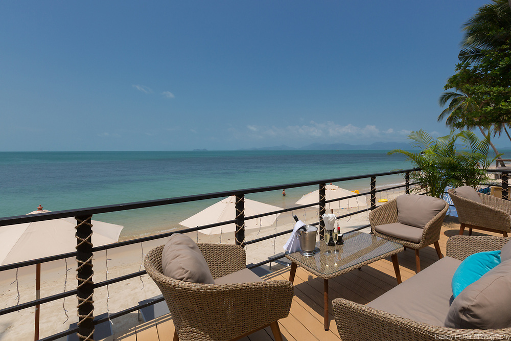 Lower terrace at Sea and Sky beach front restaurant located on Ban Tai beach, Koh Samui, Thailand
