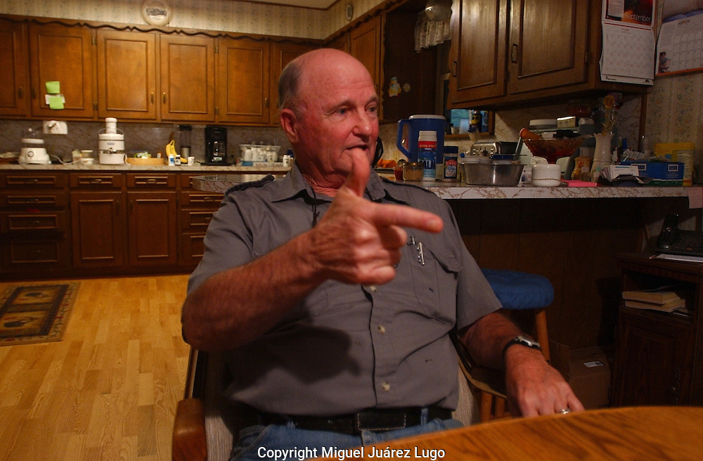 "Ronnie Brooks, a retired Thockmorton County game warden, talks about the hunting lodge that Texas Gov. Rick Perry once leased, called ""Niggerhead."" (PHOTO: MIGUEL JUAREZ LUGO)."