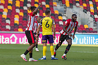 Football - 2020 / 2021 Sky Bet (EFL) Championship - Brentford vs. Huddersfield Town <br /> <br /> Josh Dasilva (Brentford  FC) turns away in celebration after scoring his sides opening goal at the Brentford Community Stadium<br /> <br /> COLORSPORT/DANIEL BEARHAM