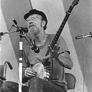 Pete Seeger and his long-neck banjo, Croton, NY June 1984