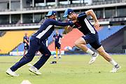 Adil Rashid & Chris Wokes during the England training session ahead of the 4th ODI, at Pallekele International Cricket Stadium, Pallekele, Sri Lanka on 19 October 2018.