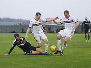 Dumbarton&rsquo;s Mark Docherty and Frazer Wright combine to halt Dundee&rsquo;s Rory Loy - Dumbarton v Dundee, William Hill Scottish Cup fifth round at The Cheaper Insurance Direct Stadium <br /> <br />  - &copy; David Young - www.davidyoungphoto.co.uk - email: davidyoungphoto@gmail.com