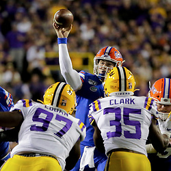 Oct 12, 2019; Baton Rouge, LA, USA; Florida Gators quarterback Kyle Trask (11) throws against the LSU Tigers during the first half at Tiger Stadium. Mandatory Credit: Derick E. Hingle-USA TODAY Sports