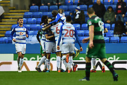 Goal - Sone Aluko (14) of Reading celebrates scoring a goal to give a 1-0 lead to the home team during the EFL Sky Bet Championship match between Reading and Queens Park Rangers at the Madejski Stadium, Reading, England on 30 March 2018. Picture by Graham Hunt.