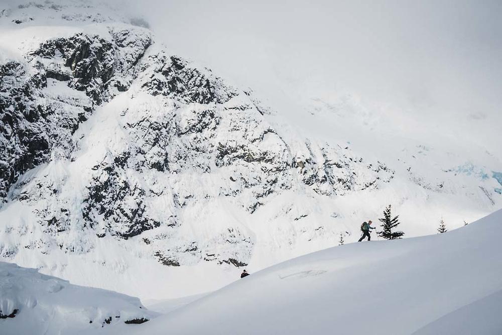 Eric Olson and Tom below the flanks of Hut Peak, Howson Range, British Columbia.