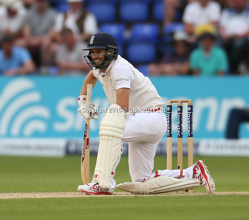 Mark Wood down during the first Investec Ashes Test Match between England and Australia at SWALEC Stadium, Cardiff. Photo: Graham Morris/www.cricketpix.com (Tel: +44 (0)20 8969 4192; Email: graham@cricketpix.com) 10072015