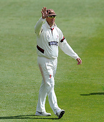 Somerset's Marcus Trescothick waves to a spectator. - Photo mandatory by-line: Harry Trump/JMP - Mobile: 07966 386802 - 28/04/15 - SPORT - CRICKET - LVCC Division One - County Championship - Somerset v Middlesex - Day 3 - The County Ground, Taunton, England.