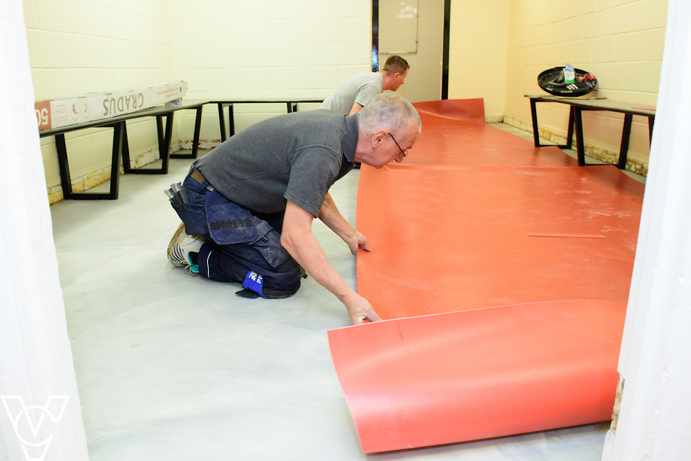 Croft Carpets have been installing new flooring in the changing rooms at Lincoln City Football Club.<br /> <br /> Picture: Chris Vaughan Photography<br /> Date: June 9, 2017