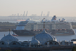© Licensed to London News Pictures. 12/09/2017. Gravesend, UK. One of the largest cruise ships ever on the Thames pictured passing Gravesend this morning as she arrived at Tilbury in Essex. The Port of London Authority have confirmed that 293 metre long Mein Schiff 3 is the longest vessel to ever dock at Tilbury cruise terminal. Photo credit : Rob Powell/LNP