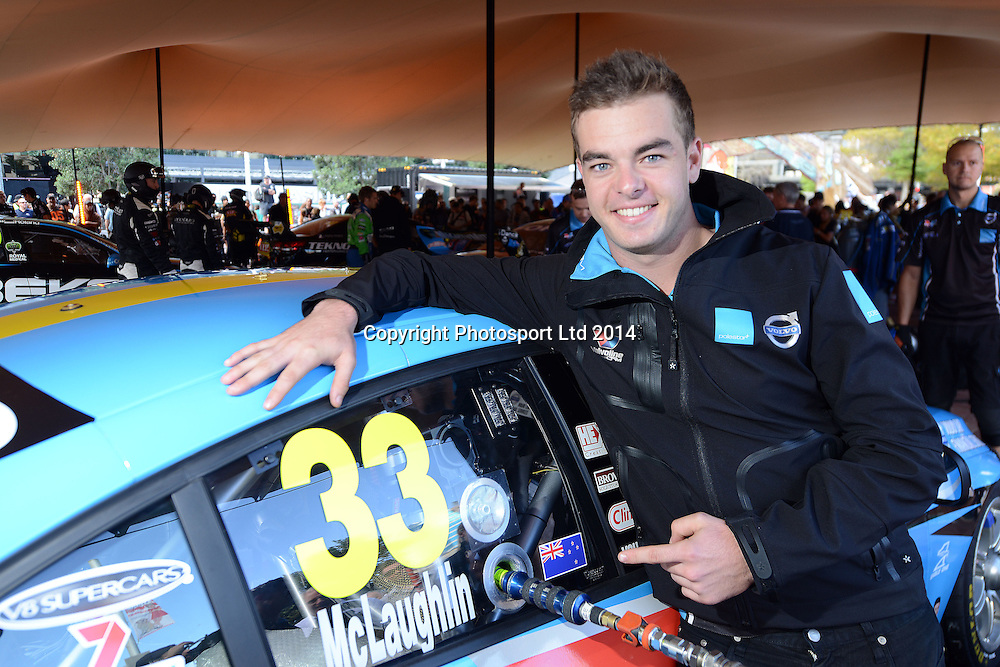Scott McLaughlin, V8 Supercar drivers participate in a pit stop competition and fan signing session in Aotea Square, Queen St, Auckland ahead of this weekends ITM 500. 23 April 2014. Photo: Andrew Cornaga/www.photosport.co.nz