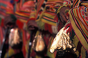 Caciques with their conch shells line up for Inti Raymi summer festival in Cuzco.