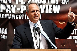 September 10, 2009; Bronx, NY; USA; Head of HBO Sports Ross Greenberg speaks at the press conference at Yankee Stadium for the November 14, 2009 fight between Manny Pacquiao and Miguel Cotto.  The two will meet at the MGM Grand Garden Arena in Las Vegas, NV.