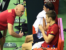 February 3, 2018 - Liege, Belgique - BRUSSELS, BELGIUM - FEBRUARY 3 : the double team of Belgium Joris De Loore and Ruben Bemelmans vs Attila Balazs and Marton Fucsovics (Hon) pictured during the Davis Cup World Group first round match between Belgium and Hungary on febuari 3, 2018 in Liege , Belgium, 02/02/2018 ( Photo by Philippe Crochet / Photonews. (Credit Image: © Panoramic via ZUMA Press)