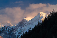Cheam and Lady Peaks of the Cheam Range in the North Cascades.  Photographed from the west side of Harrison Lake in Harrison Hot Springs, British Columbia, Canada