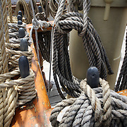 Ships ropes on the Joseph Conrad, the full- rigged ship at Mystic seaport. Mystic, Connecticut. 21st July 2013. Photo Tim Clayton