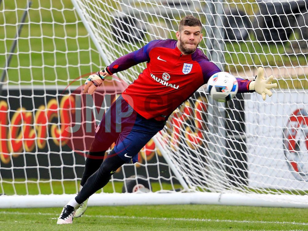 England's Frazer Forster makes a save  - Mandatory byline: Matt McNulty/JMP - 22/03/2016 - FOOTBALL - St George's Park - Burton Upon Trent, England - Germany v England - International Friendly - England Training and Press Conference