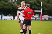 Referee has a word with Bradford Bulls replacement Mikolaj Oledzki (31) during the Kingstone Press Championship match between Swinton Lions and Bradford Bulls at the Willows, Salford, United Kingdom on 20 August 2017. Photo by Simon Davies.