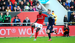 Ben Williams of Barnsley applies pressure on Famara Diedhiou of Bristol City-Mandatory by-line: Nizaam Jones/JMP - 18/01/2020 - FOOTBALL - Ashton Gate - Bristol, England - Bristol City v Barnsley - Sky Bet Championship