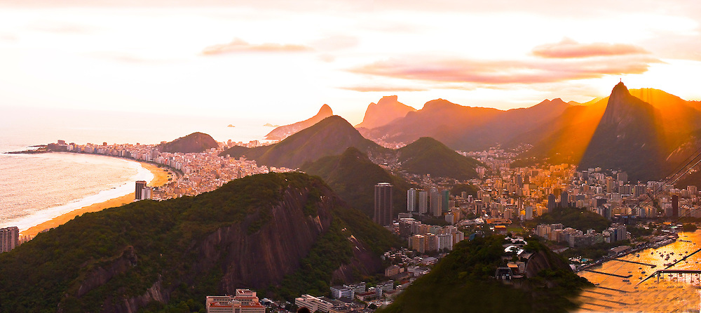Panorama view from the top of Sugarloaf Mountain. Sunset time. Rio de Janeiro, Brazil.